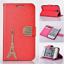 Newest Eiffel Tower folio stand silk leather case with diamond buckle,for samsung galaxy S4 i9500 leather case