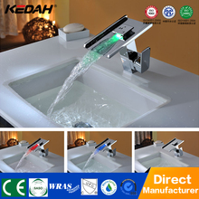 2017 hotel basin waterfall sinks and taps new square led bath basin deck munted faucet