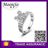 wholesale high quality MOONSO music note rings imitation chocolate diamonds rings bangkok rings KR432