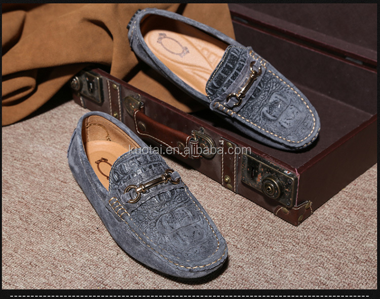 Doug shoes crocodile print head layer cowhide British men driving loafers shoes tide restoring ancient ways leather men's shoes