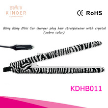 Mini car charger hair straightener with crystals