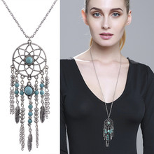 Classic Ethic Metal Long Dream Catcher Necklace For Lady