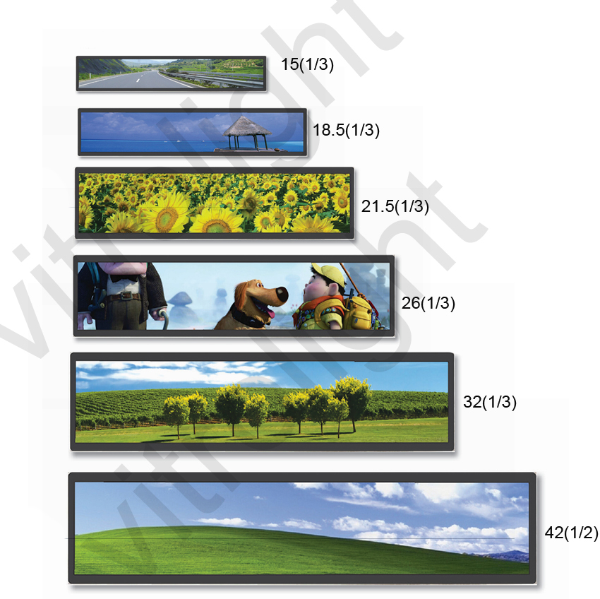 "Stretched screen LCD TFT type 38.3"" Ultra wide Stretched Bar lcd"