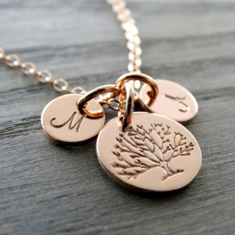 Yiwu Meise Stainless Steel Gold Tree Charm Tree Necklace Mother's Necklace Rose Gold Initial Charm