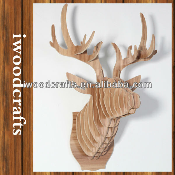 2016 New Design Fancy Wood Deer Heads Country Home Decor, Primitive Decor IW0015