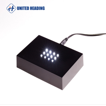 adpter powered 16leds colorful or single color rectangle Black plastic bottle glorifies led light base