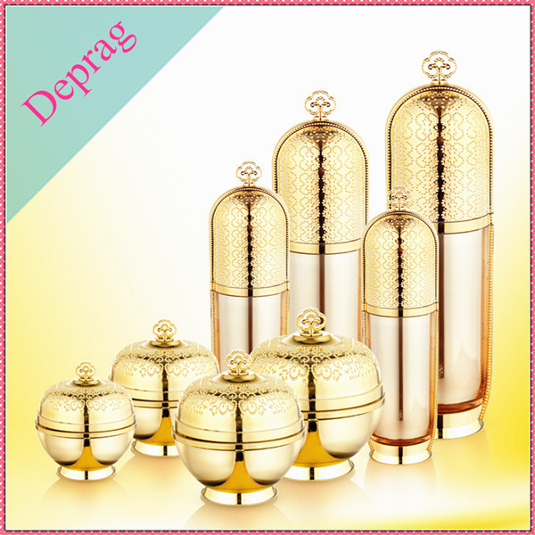 Personal Care Crown Shape Cosmetic Packaging 30ml 50ml 120ml Gold Round Shape Luxury Brand Custom Plastic Lotion Bottle