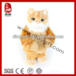 2014 new kid toy stuffed yellow cat birthday christmas gifts electronic pets animal cat voice box plush toys sing and dance cat