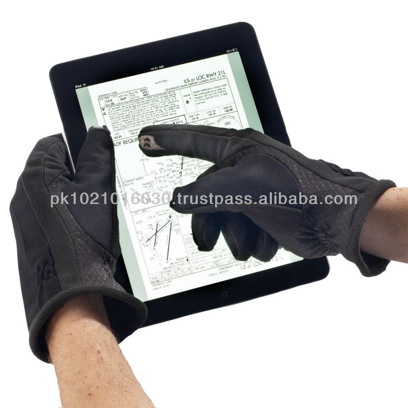 Touch Screen cow hide leather gloves in black color touch smart phone gloves