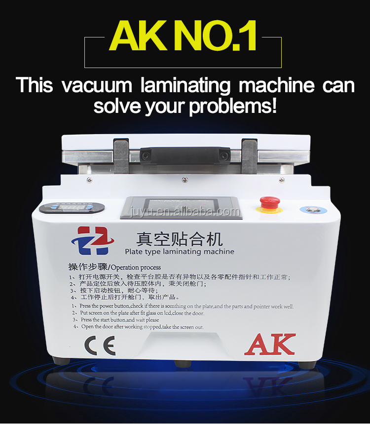 High precision AK 2 in 1 Lcd Repair Machine Vacuum lcd oca laminating +air bubble remove machine For Samsung edge glass