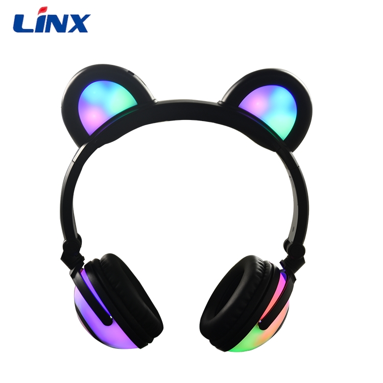 2017 Top Rated 8 Hour Shining Colorful LED Lights Bear Headphone Wholesale For Girls