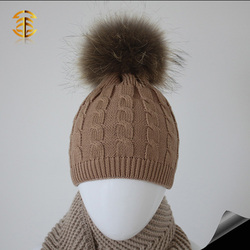 Newest pattern children hat with natural color fur ball for kids
