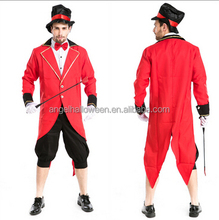 High quality halloween fancy dress red costume for adult mens sexy magician costume AGM241