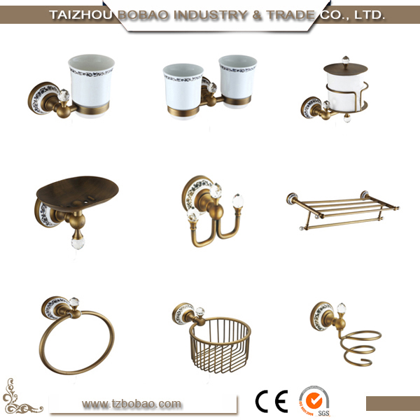 Old Fashioned Vintage Metal Bathroom Sanitary Wares For In-wall Crystal Antique Brass Bathroom Accessory Sets