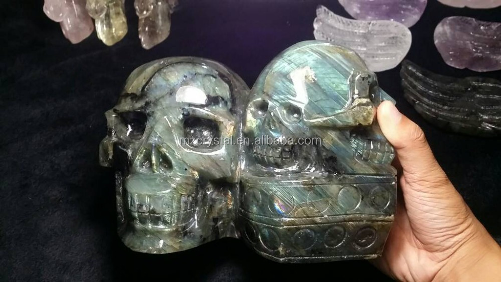 Wholesale natural carved stone Labradorite skull quartz crystal feng shui three skulls for decoration