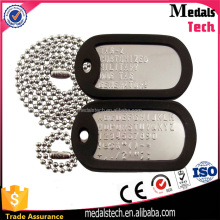 Wholesale custom metal stainless steel engraved letter military cheap dog tag with rubber