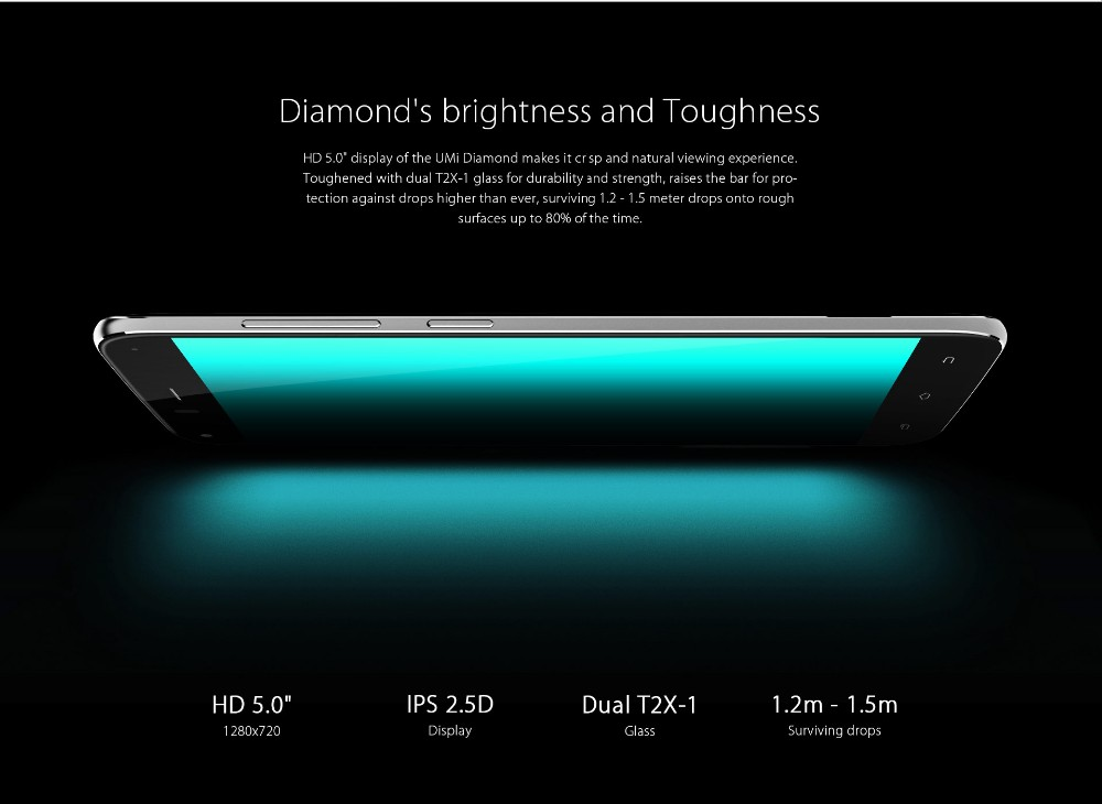 Umi Diamond 5.0inch Mobile Phone 4G LTE MTK6753 Octa Core Android 6.0 3G RAM+16G ROM 8MP Camera Smartphone