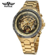 Winner Luxury Branded Stainless Steel Material Gold&Black Automatic Mechanical Watch Men hours horloge