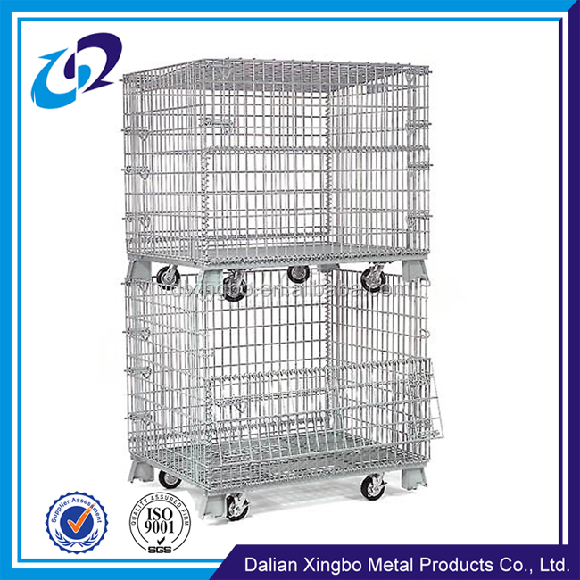 Galvanized industrial stackable storage containers