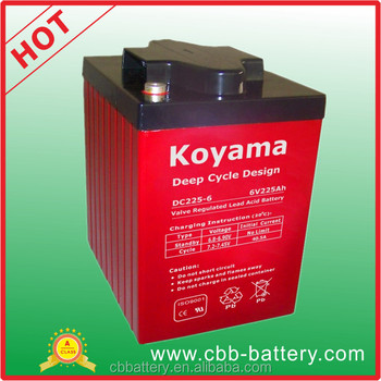 2017 Top selling products 6V 225Ah Deep Cycle Battery For PSoC Applications