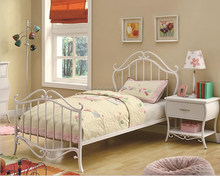 Bella Twin or Full Contemporary White Metal Bed