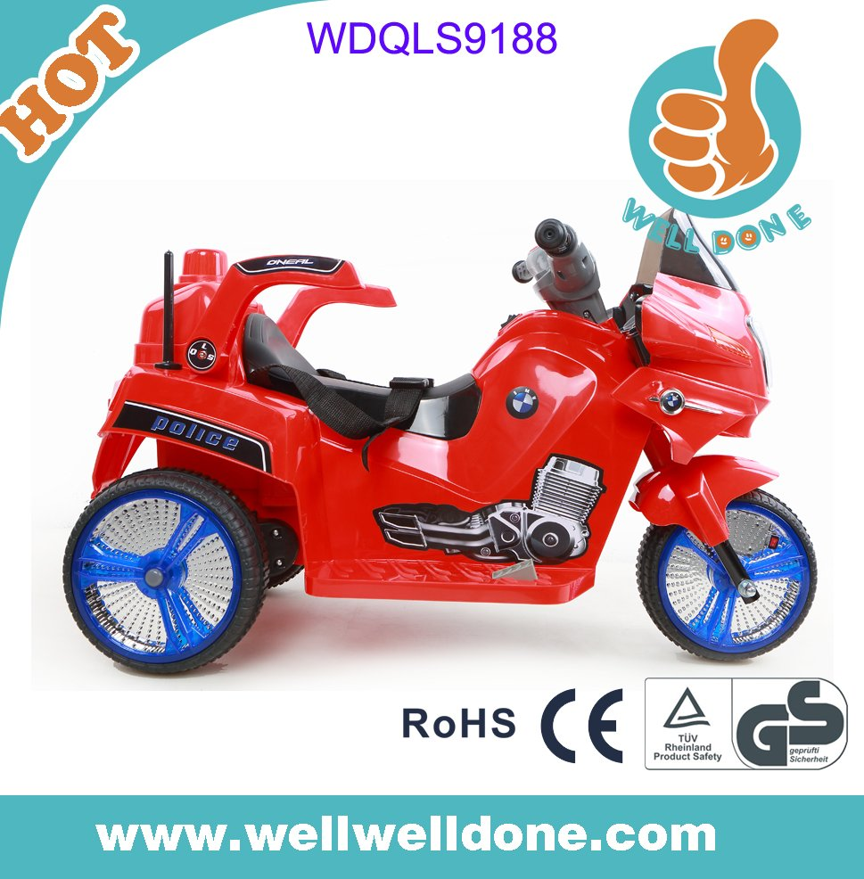 Hot selling 3 wheel electric car, with shining wheels, MP3 port and volume adjusting baby motorcycle WDQLS9188