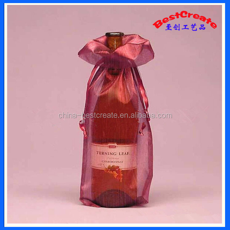 Wholesale fashionable 14*36cm customized drawstring Wine bottle organza bags