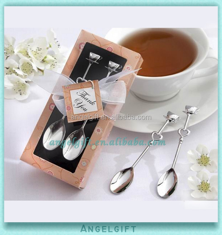 Wedding Favors Red Box Silver Chrome Demitasse Coffee Spoon