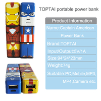 shenzhen battery vipow supply cartoon power bank 2600