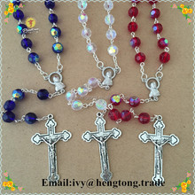 Wholesale 8mm white crystal beads religious rosary necklace, crystal jewelry necklace, catholic rosary with alloy cross & center