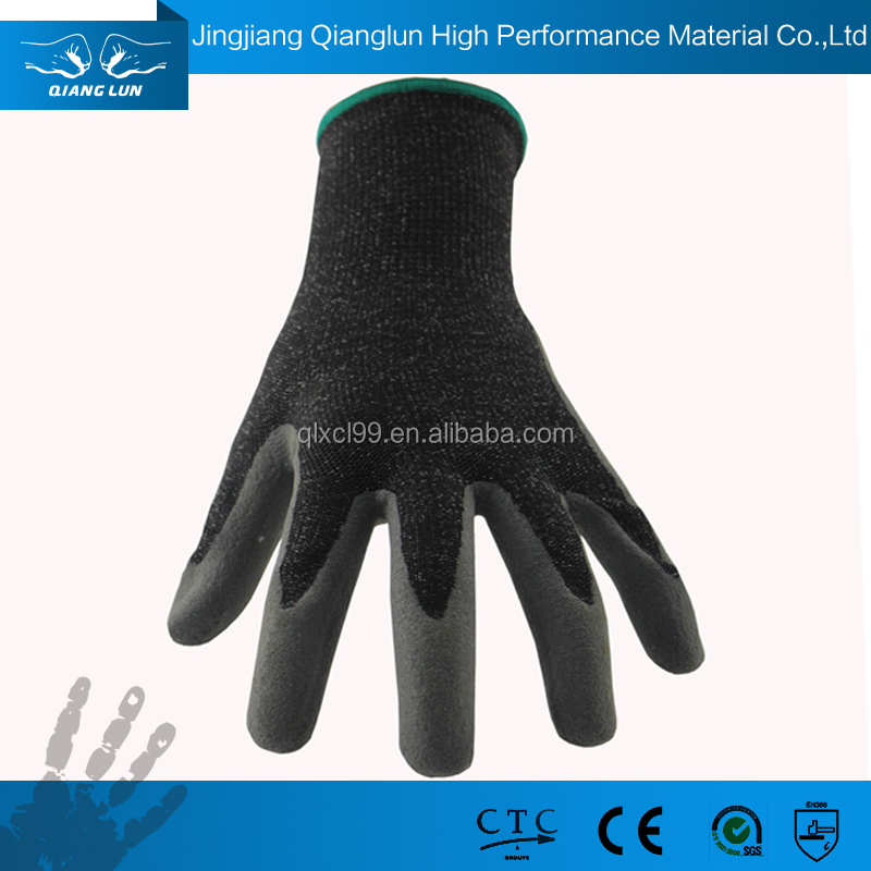 High performance stainless steel mixed liner sandy nitrile palm safety gloves for cutting