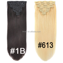 2018 market highlights 22 inch straight #1b #613 free sample remy human hair pieces seamless clip in hair extensions human hair