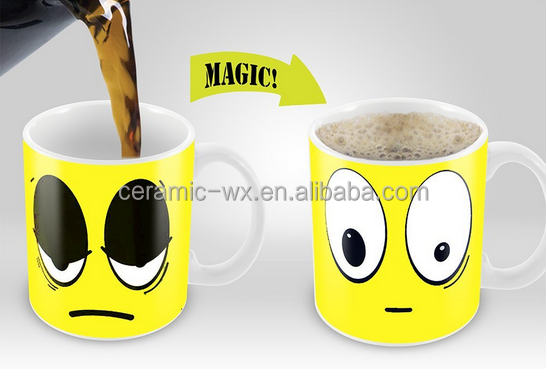 Zakka Funny Cartoon Color Changing Wake Up Cup Ceramic Coffee Mug Cold