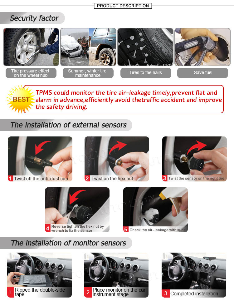 New arrival High Quality aTPMS tire pressure monitoring system with external sensors