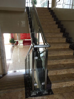 Stainless steel interior staircase design glass balcony railing