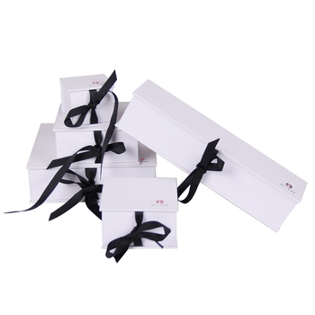 Hot sale ribbon closure cardboard expensive velvet inserts boxes for jewelry