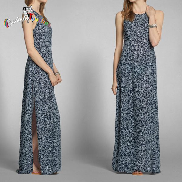 Backless Cut-out Floral Print Maxi Long Dresses High Slit