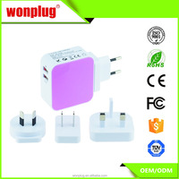 Mobile phone travel charger with dual usb port with CE,ROHS approval
