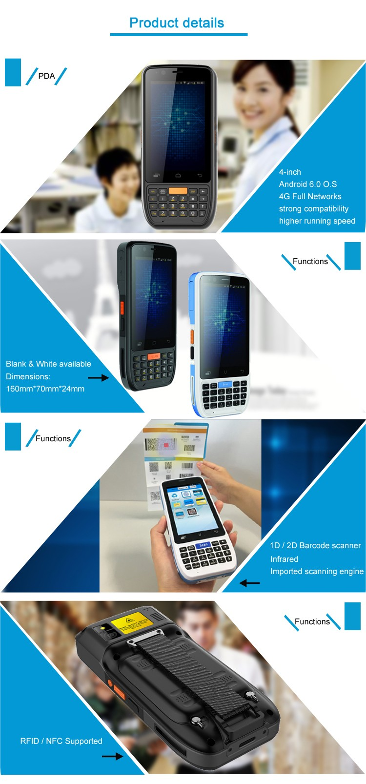 Factory price OEM rugged PDA bluetooth android handheld scaner barcode