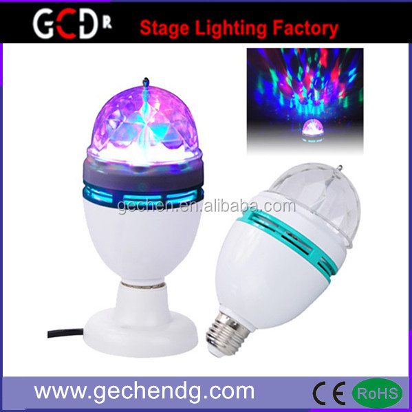 New manufactory direct sale full Color E27 3W RGB LED Crystal Stage Light Auto Rotating Lamp Disco DJ Party Holiday Dance bulb