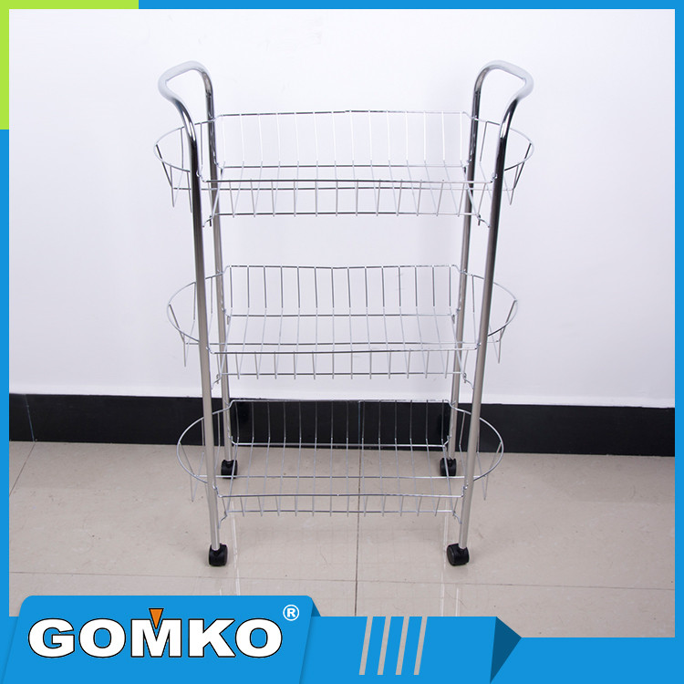 Stable 3 Tiers Carbon Steel Mobile Kitchen Wire Shelving Rack