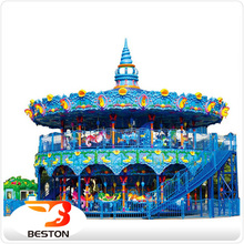 Beston Carnival Equipment Merry Go Round Double Deck Carousel For Sale
