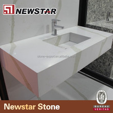 Newstar Best Rated affordable bathroom wall mount calacatta white marble veins real quartz countertops