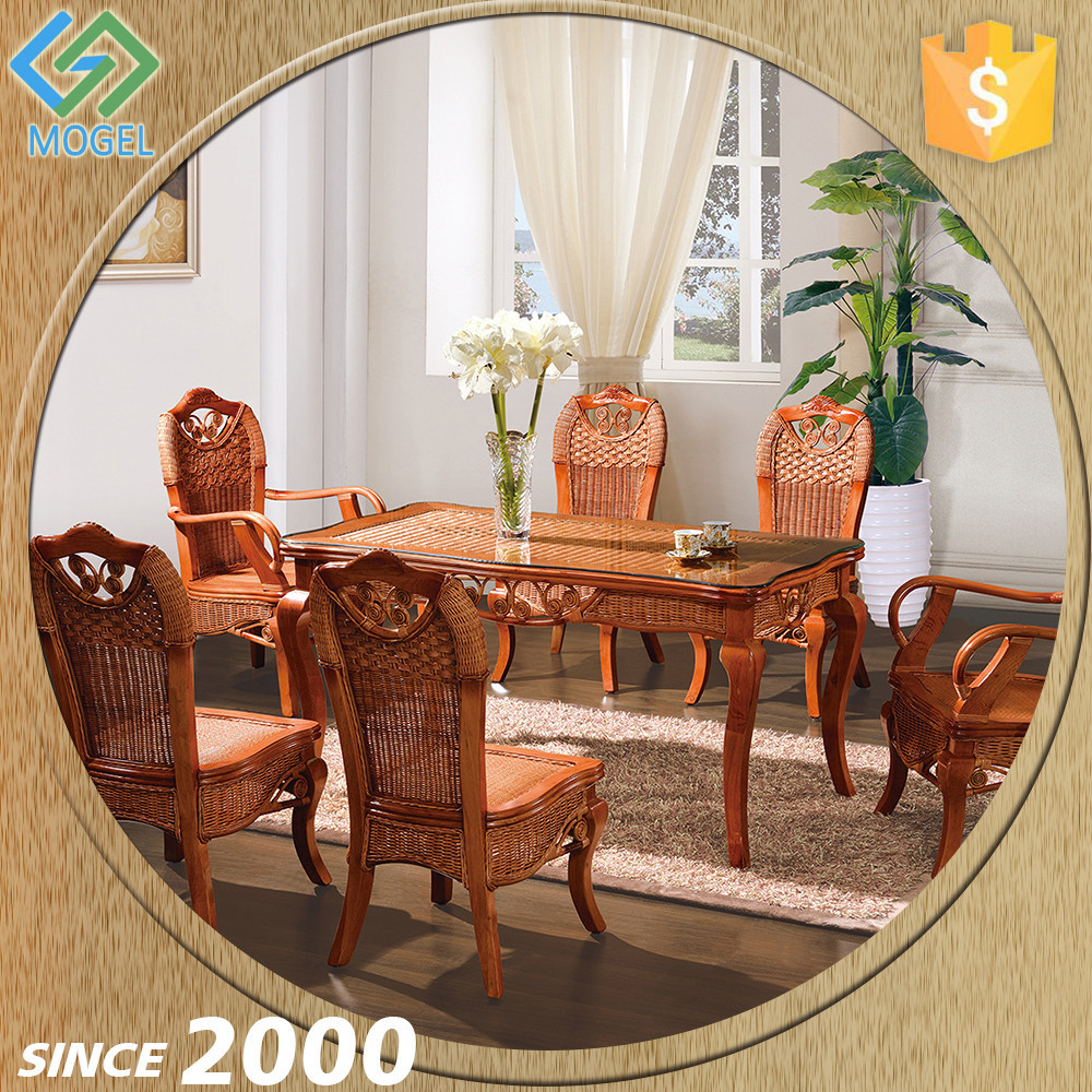 Classic Wooden/Rattan Dining Room Set