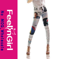 Wholesale Newspaper Printed Adult Sexy Latex Leggings