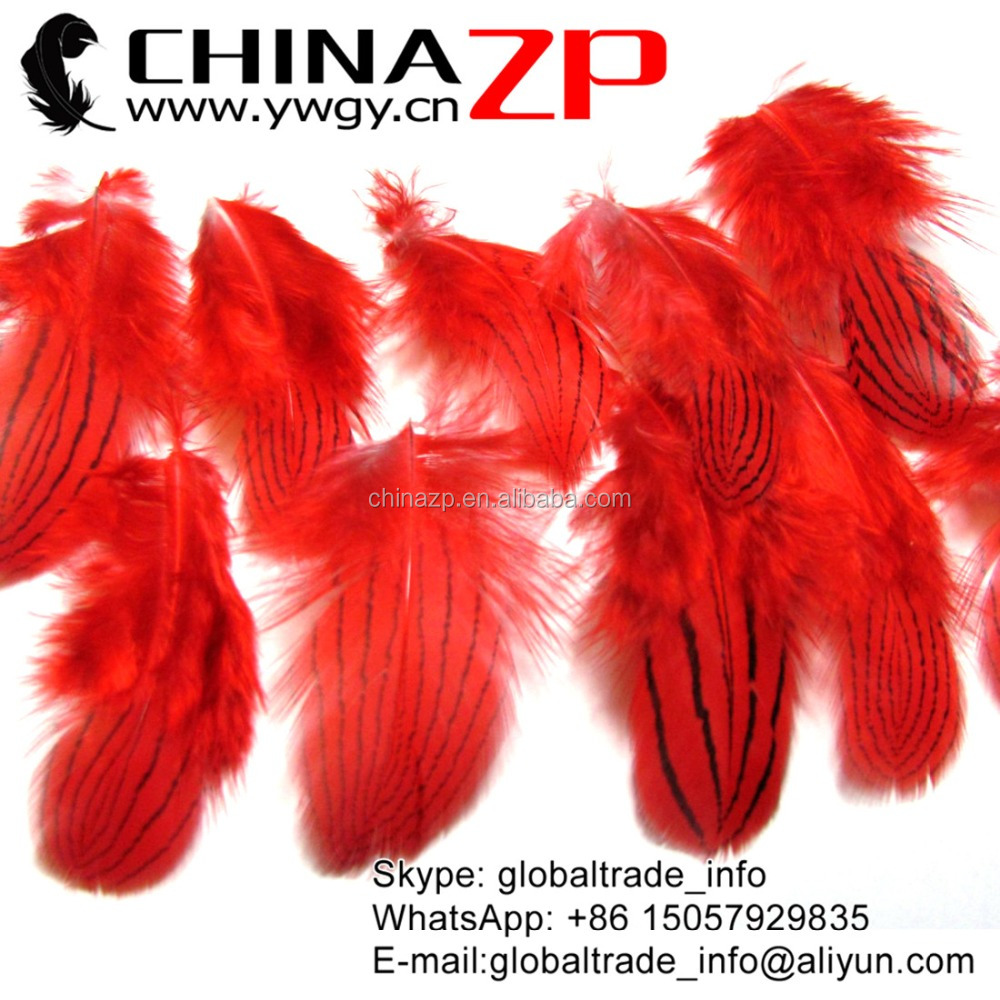 CHINAZP 8-10cm Length Bright color Dyed Red Wholesale Silver Pheasant Feathers Plumes