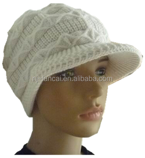 ladies high quality 100% acrylic knitted peaked cap