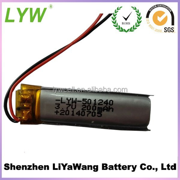 3.7 V 200 mAh Rechargeable Lithium Polymer Battery 501240P