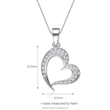 Heart shape 925 Sterling silver wedding necklace