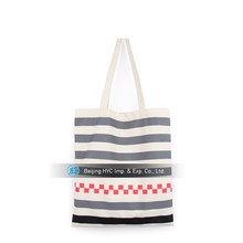High quality blank stripe men canvas beach tote bag wholesale